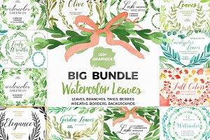 Bundle - Tropical Watercolor Leaves