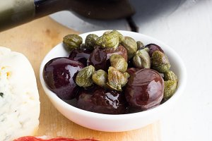olives and jerky closeup