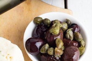 olives,capers,jerky closeup