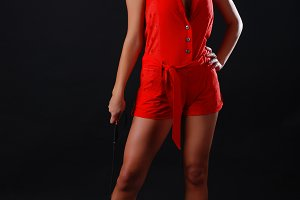 brunet woman in red clothes