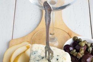 snacks and wine glass
