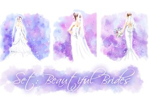 Wedding watercolor set: 3 brides
