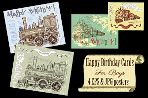 Greeting cards with trains