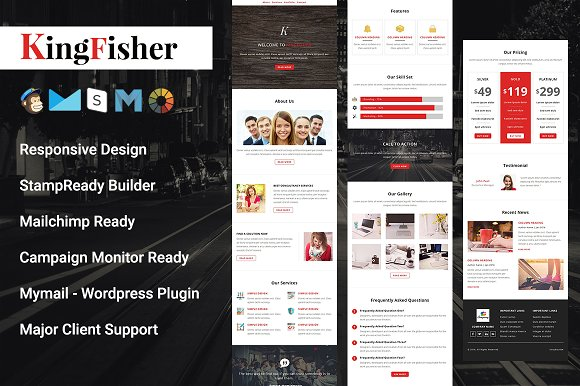 kingfisher responsive email template email templates on creative market. Black Bedroom Furniture Sets. Home Design Ideas
