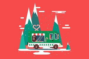 Christmas vector car illustration