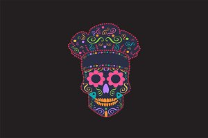 Kitchen chef skull vector
