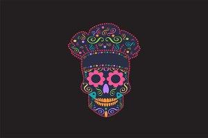 Kitchen chef skull vector