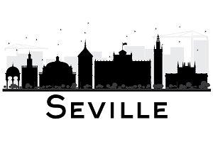 Seville City skyline silhouette
