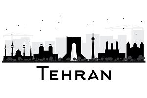 Tehran City skyline silhouette