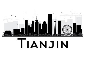 Tianjin City skyline silhouette