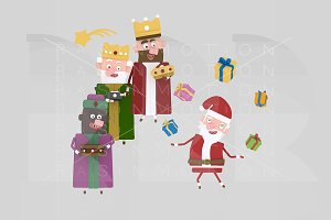 3d illustration. Santa & Magic kings