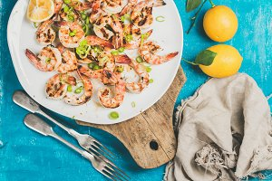 Grilled tiger prawns in white plate