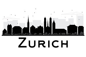 Zurich City skyline silhouette