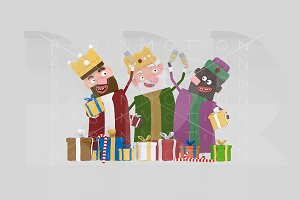 3d illustration. Kings toasting.