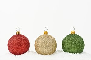 Gold, green and red Christmas balls.
