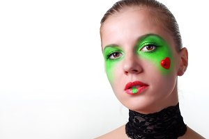 woman with green eyeshadow