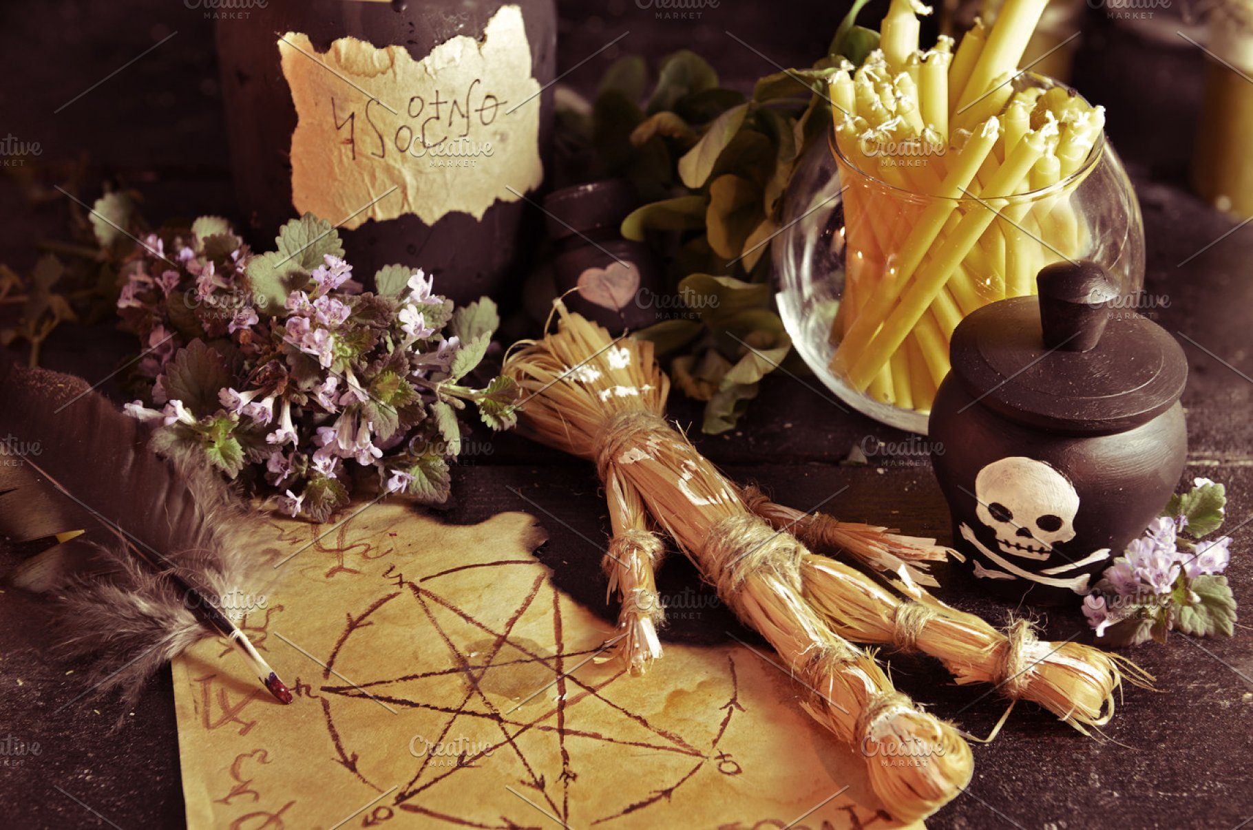Voodoo doll and magic objects