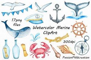 Watercolor Marine ClipArt
