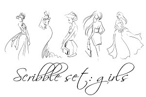 Scribble fashion illustrations