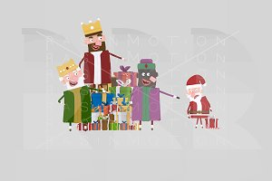 3d illustration. Kings vs Santa