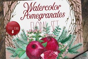 Watercolor Pomegranates Floral Set
