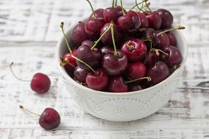 red cherries in a beautiful plate