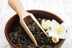Dry green tea with jasmine flowers