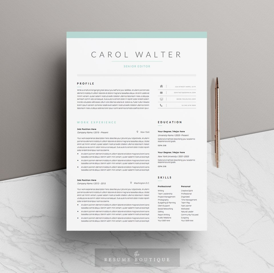 5 page Resume Template | Upgrade ~ Resume Templates ~ Creative Market