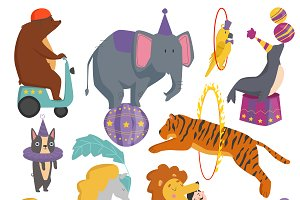 Circus funny animals set vector