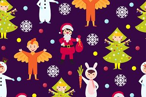 Christmas kids seamless pattern