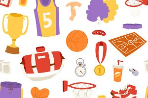 Basketball sport seamless pattern