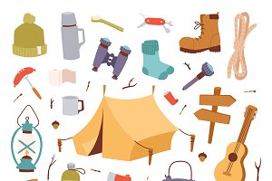 Adventure camping travel vector