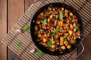 Italian Caponata with frying pan