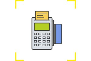 Pos terminal color icon. Vector