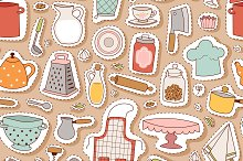 Kitchen and cooking seamless pattern