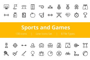 125+ Sports and Games Line Icons