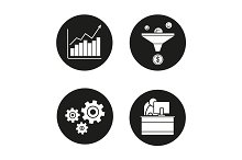Business. 4 icons set. Vector