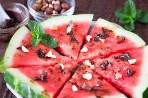 Watermelon slice with chocolate