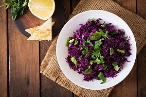 Salad of red cabbage with herbs.