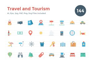 144 Flat Travel and Tourism Icons