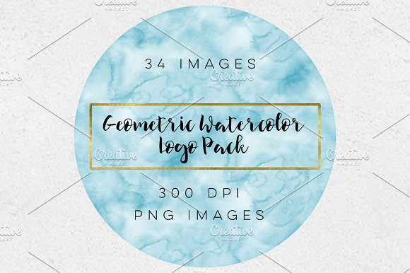 Blue Watercolor Geometric Logo Pack