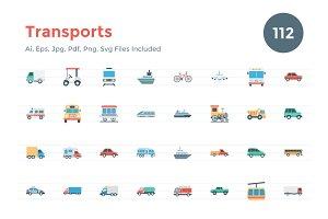 112 Flat Transports Icons