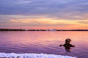Sunset in the salt lagoons
