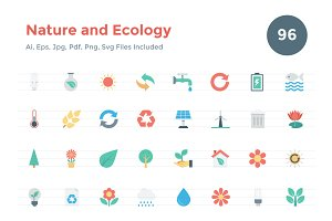 96 Flat Nature and Ecology Icons