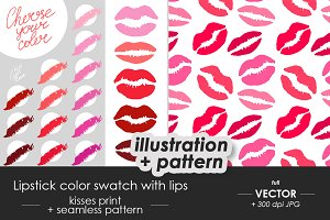 Lips color swatch, beauty salon