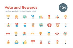 104 Flat Vote and Rewards Icons