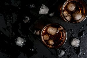Alcohol cocktail whiskey and cola