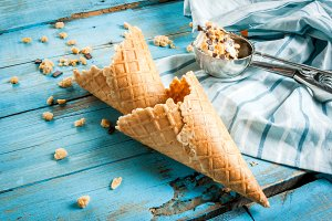 Waffle cones for ice cream
