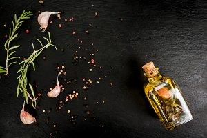 Rosemary essential oil in jar
