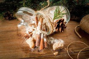 Set ingredients for gingerbread